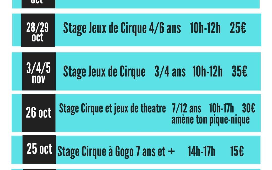 Les stages de cirque d'automne avec Passing